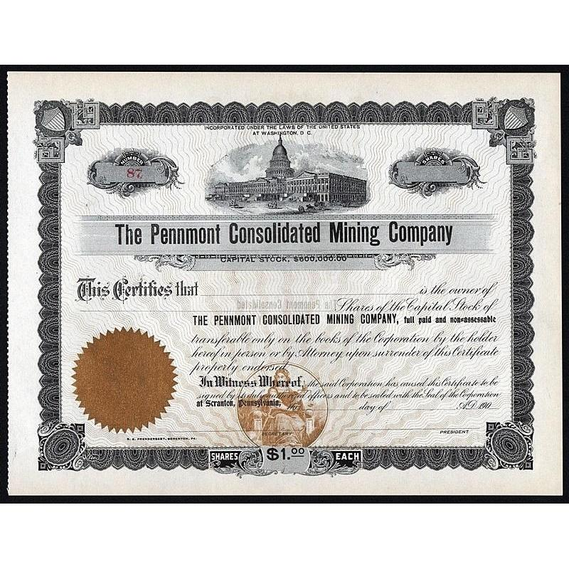 The Pennmont Consolidated Mining Company Stock Certificate