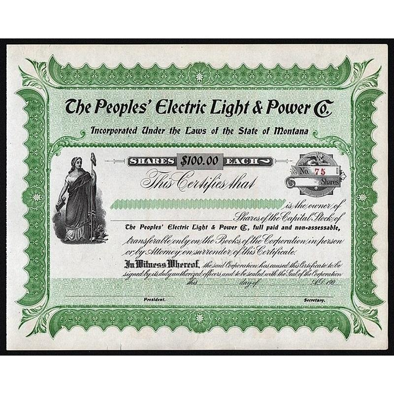 The Peoples' Electric Light & Power Co. Stock Certificate