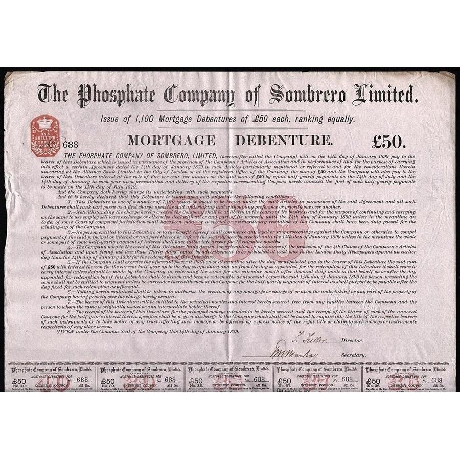 The Phosphate Company of Sombrero Limited (Lesser Antilles) Stock Certificate