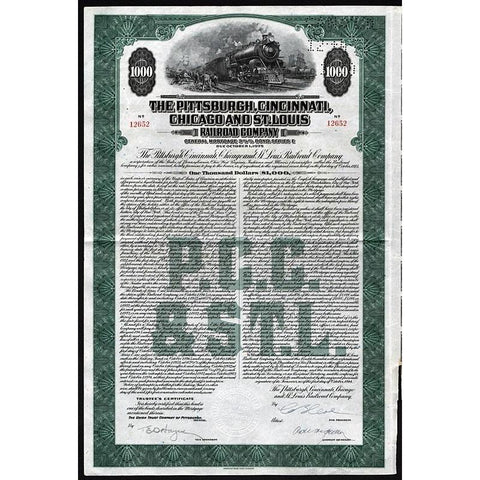 The Pittsburgh, Cincinnati, Chicago & St. Louis Railroad Company Stock Certificate