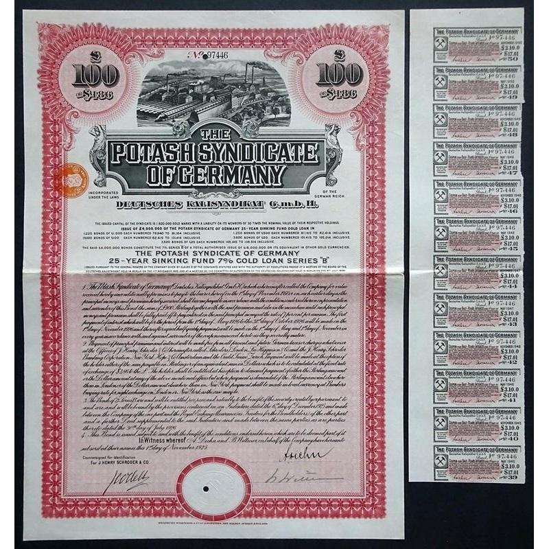 The Potash Syndicate of Germany - Deutsches Kalisyndiakat G.m.b.H. Stock Certificate