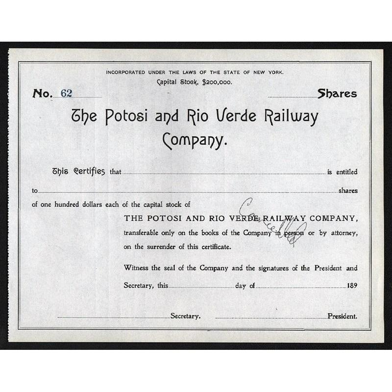 The Potosi and Rio Verde Railway Company Stock Certificate