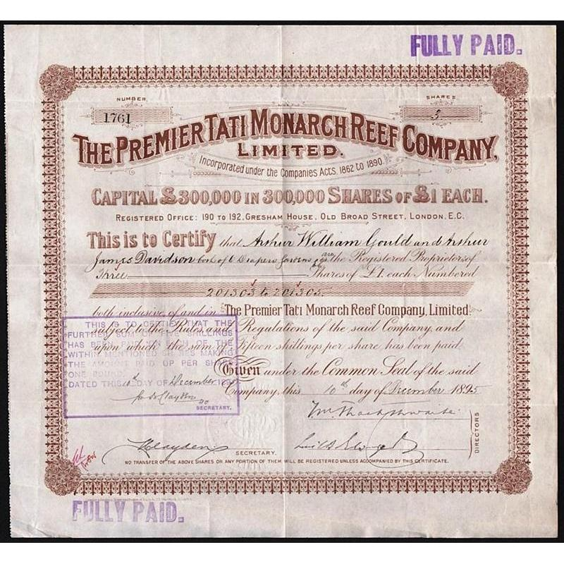The Premier Tati Monarch Reef Company, Limited Stock Certificate