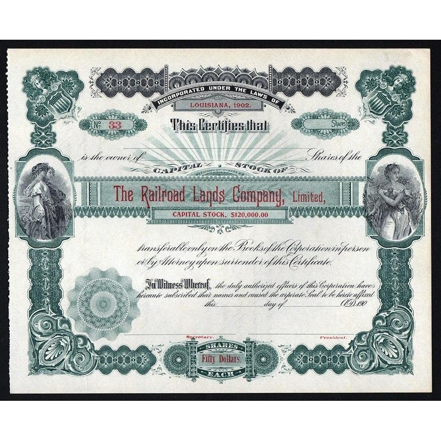 The Railroad Lands Company, Limited Stock Certificate