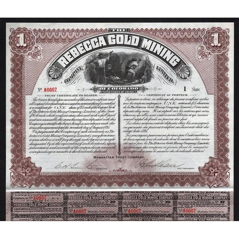 The Rebecca Gold Mining Company Limited of Colorado (Cripple Creek) Stock Certificate