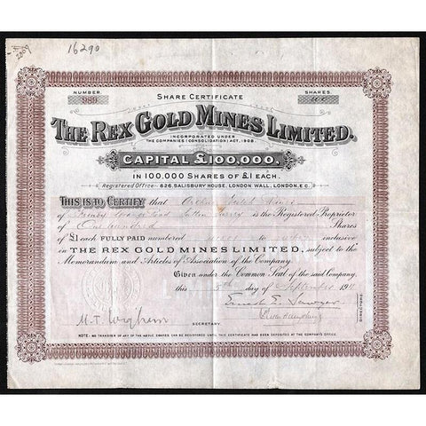 The Rex Gold Mines Limited (Elko County, Nevada) Stock Certificate