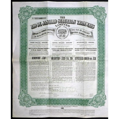 The Rio de Janeiro Suburban Tramways Limited Stock Certificate