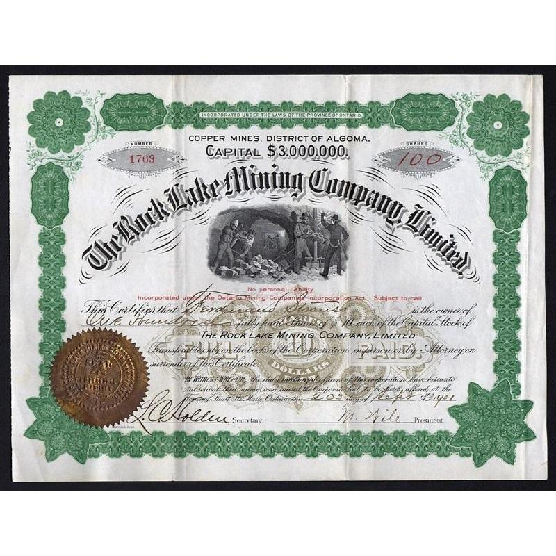 The Rock Lake Mining Company, Limited (Copper Mines, District of Algoma) Stock Certificate