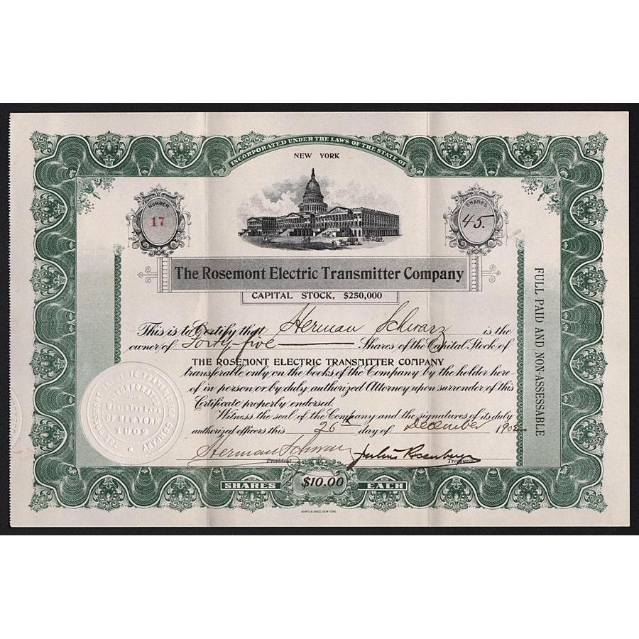 The Rosemont Electric Transmitter Company Stock Certificate