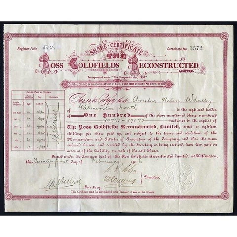 The Ross Goldfields Reconstructed Limited Stock Certificate