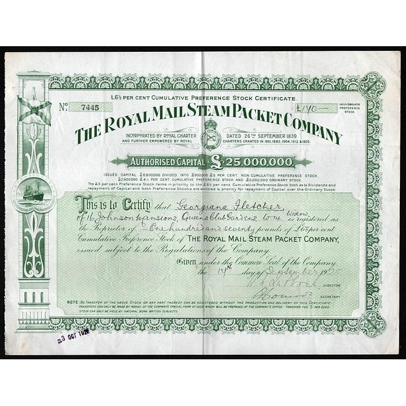 The Royal Mail Steam Packet Company Stock Certificate
