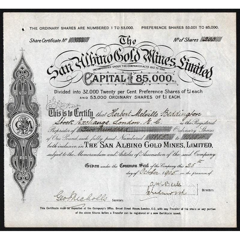 The San Albino Gold Mines, Limited Stock Certificate