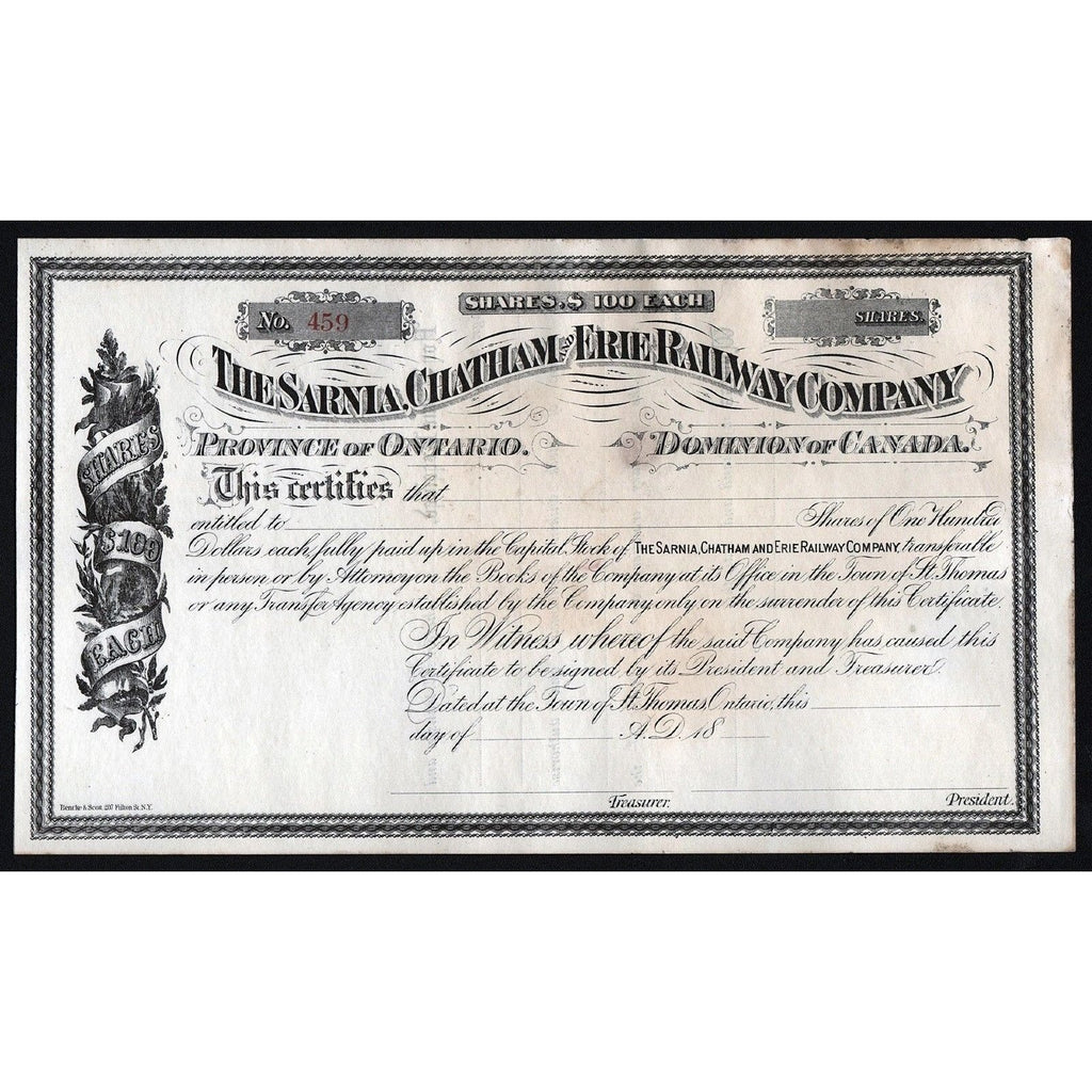 The Sarnia, Chatham and Erie Railway Company Stock Certificate