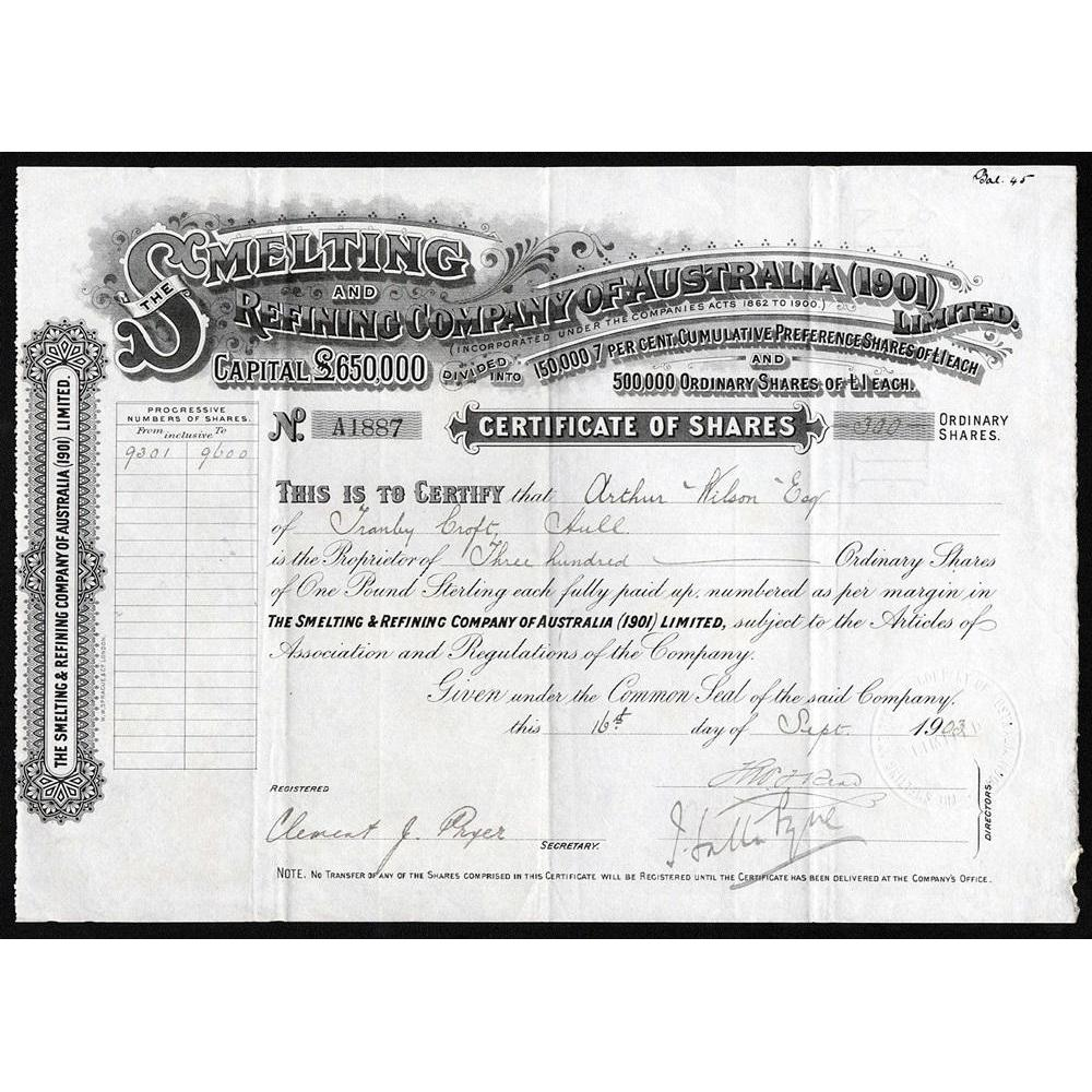 The Smeliting and Refining Company of Australia (1901) Limited Stock Certificate