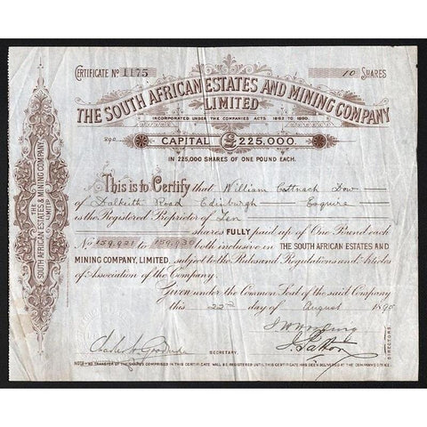 The South African Estates and Mining Company Limited Stock Certificate