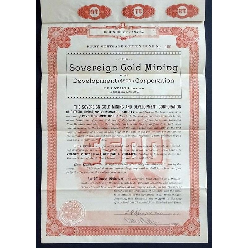 The Sovereign Gold Mining and Development Corporation of Ontario, Limited Stock Certificate