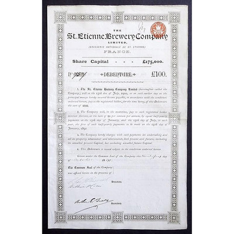 The St. Etienne Brewery Company Limited (Brasserie Nationale de St. Etienne) France Stock Certificate
