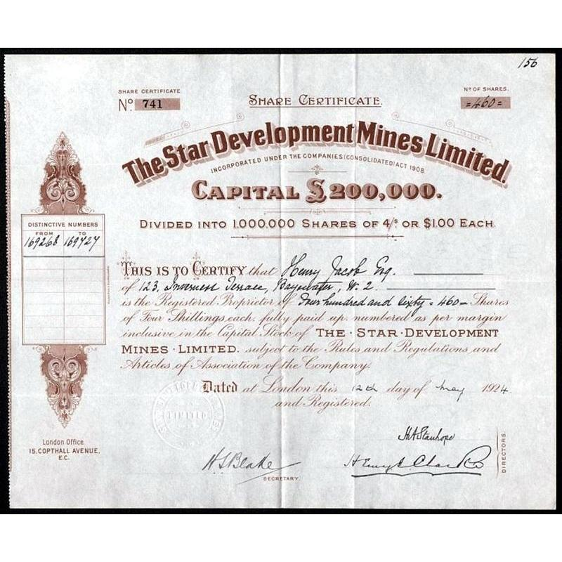 The Star Development Mines Limited Stock Certificate