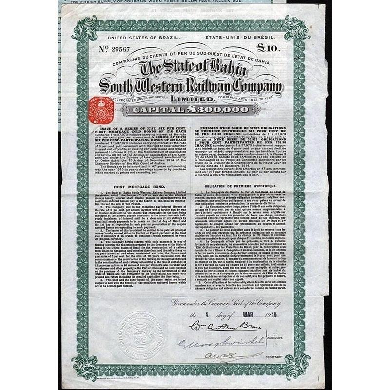 The State of Bahia South Western Railway Company, Limited Stock Certificate