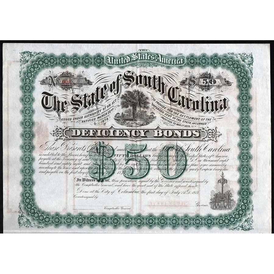 The State of South Carolina, Deficiency Bond Stock Certificate
