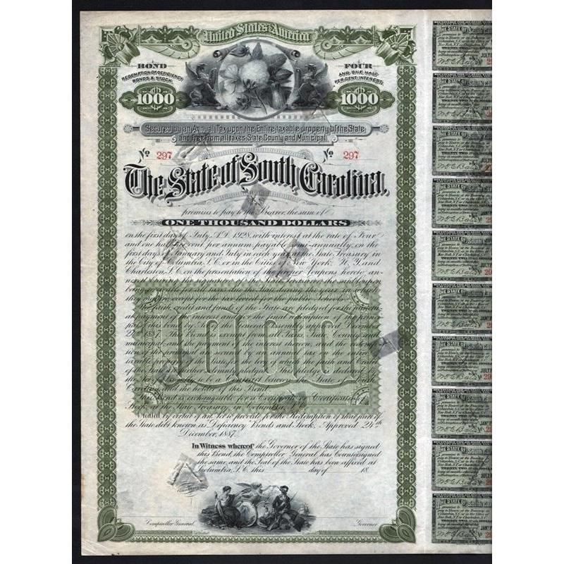 The State of South Carolina Stock Certificate