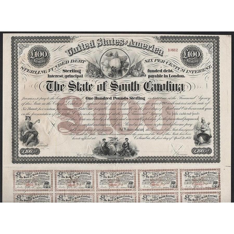 The State of South Carolina, Sterling Funded Debt 1871 Bond Certificate