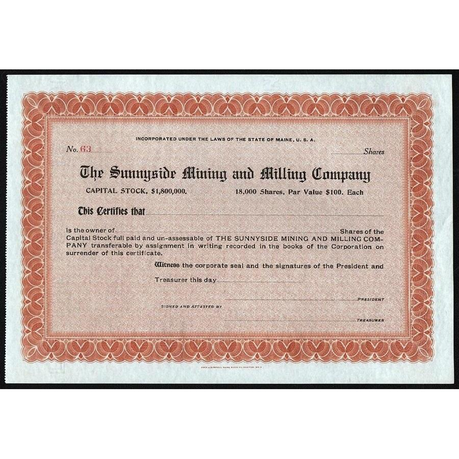 The Sunnyside Mining and Milling Company Stock Certificate
