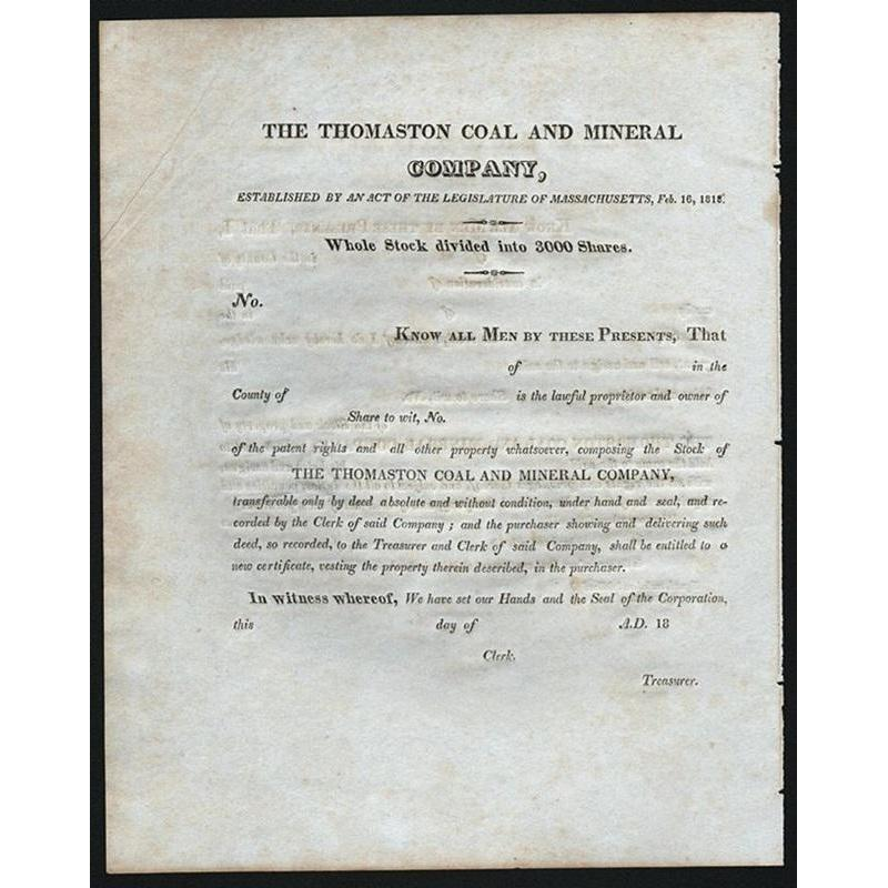 The Thomaston Coal and Mineral Company Stock Certificate
