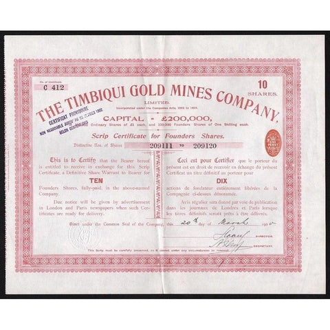 The Timbiqui Gold Mines Company, Limited Stock Certificate