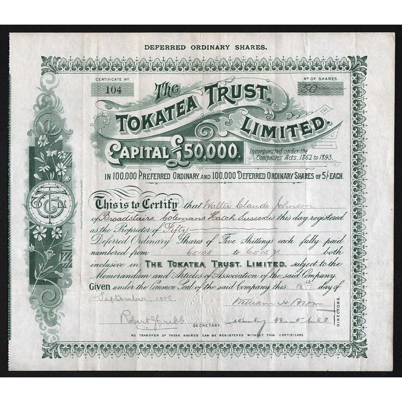 The Tokatea Trust, Limited Stock Certificate