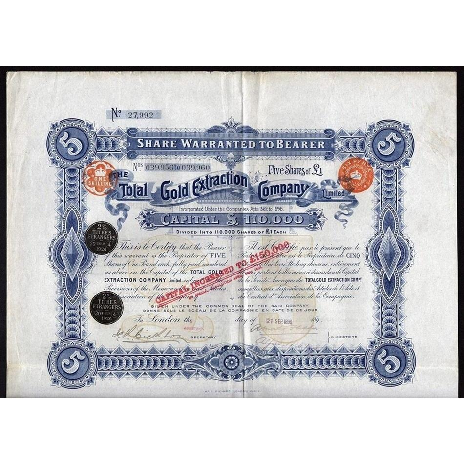 The Total Gold Extraction Company, Limited Stock Certificate