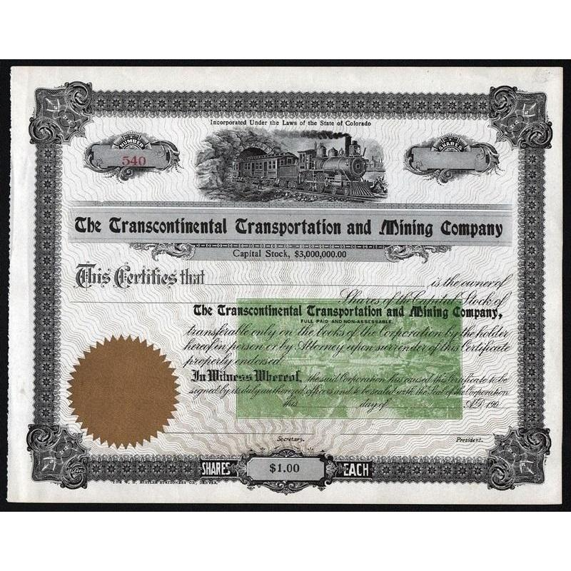 The Transcontinental Transportation and Mining Company Stock Certificate