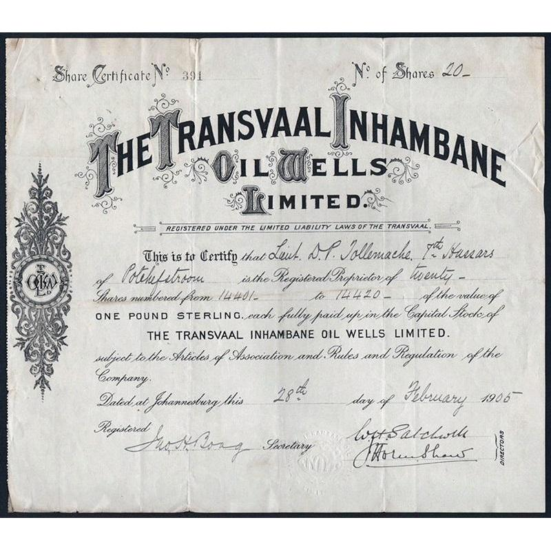 The Transvaal Inhambane Oil Wells Limited Stock Certificate