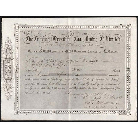 The Tuberao (Brazilian) Coal Mining Co. Limited Stock Certificate