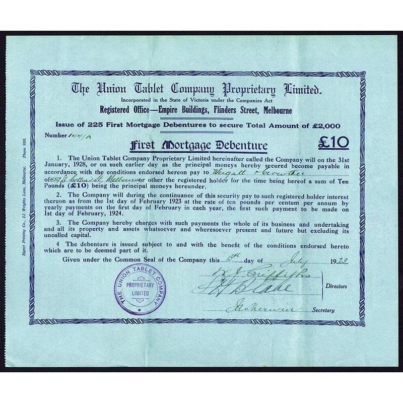 The Union Tablet Company Proprietary Limited Stock Certificate