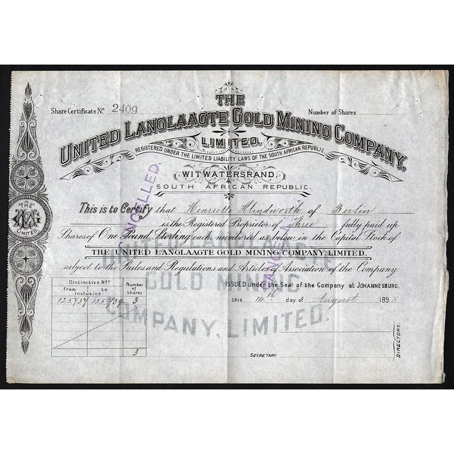 The United Langlaagte Gold Mining Company Limited Stock Certificate