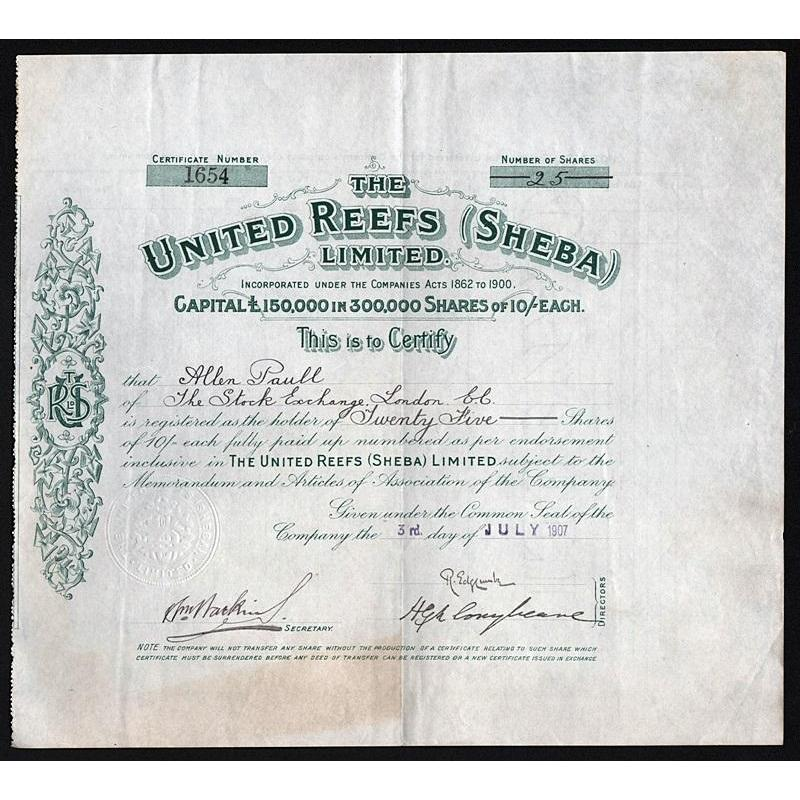 The United Reefs (Sheba) Limited Stock Certificate