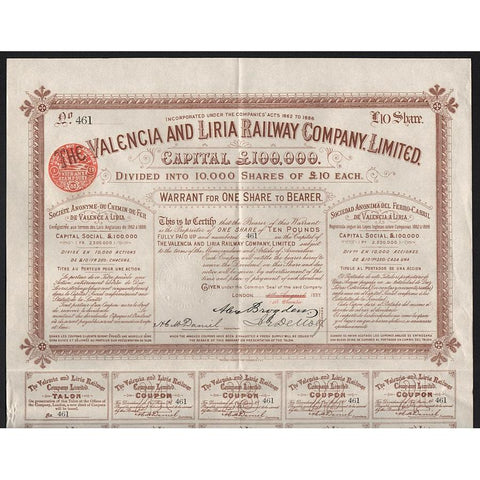 The Valencia and Liria Railway Company, Limited Stock Certificate