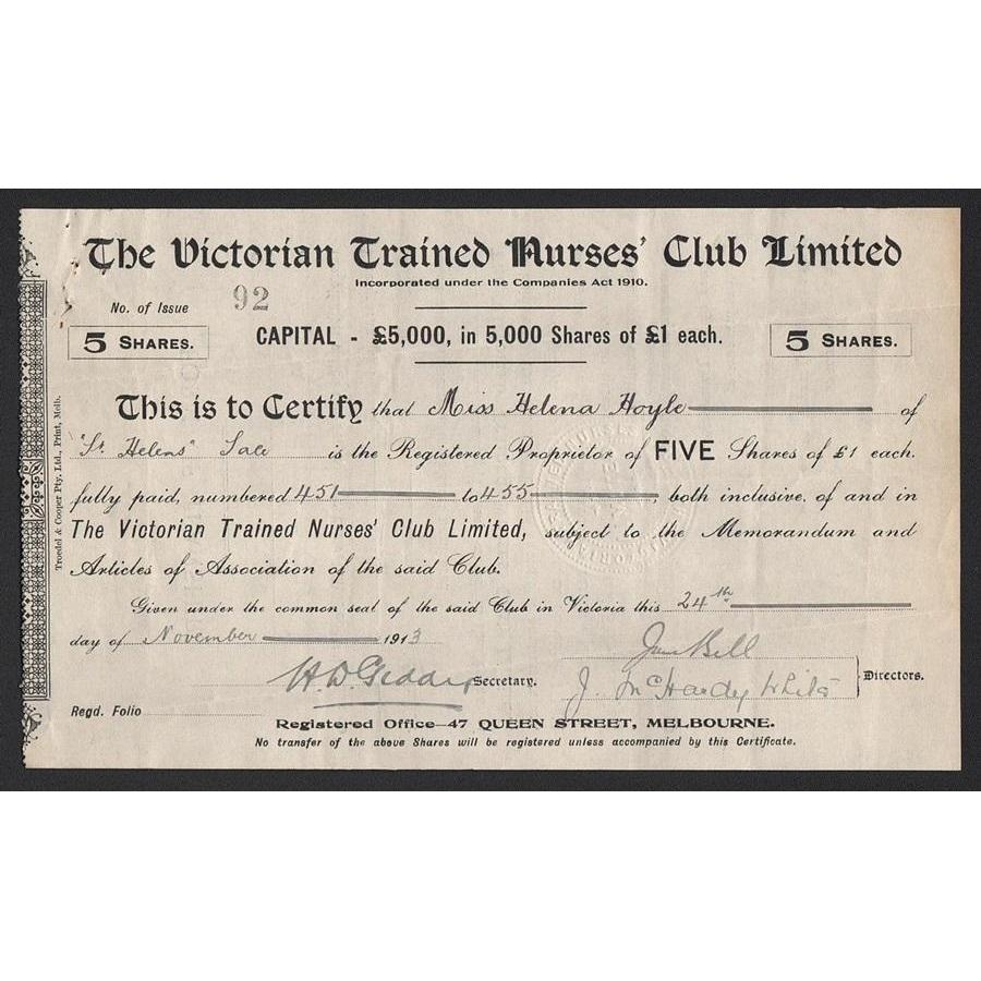 The Victorian Trained Nurses' Club Limited Stock Certificate