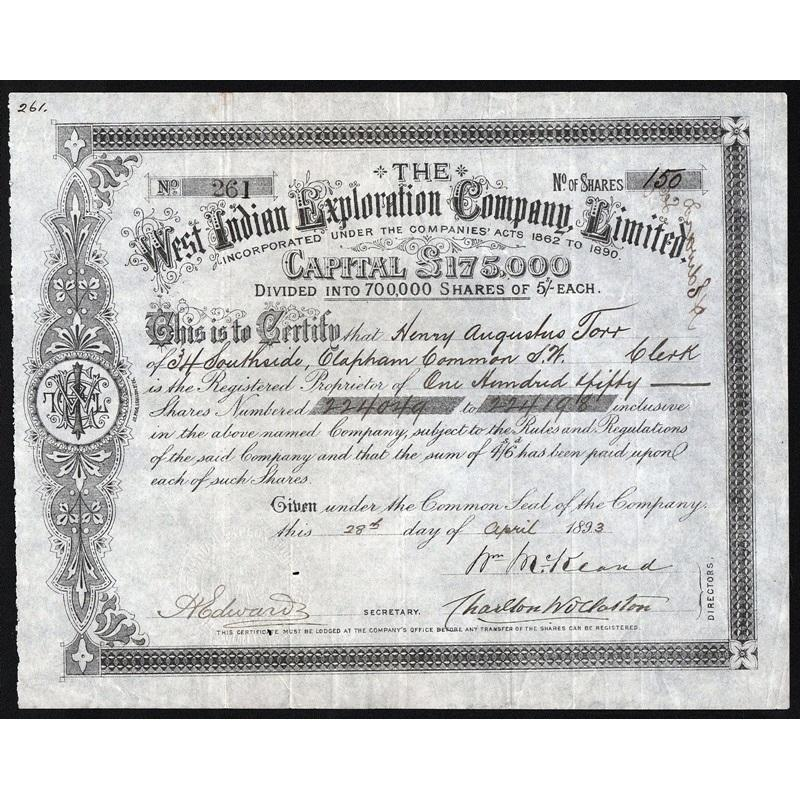 The West Indian Exploration Company, Limited Stock Certificate