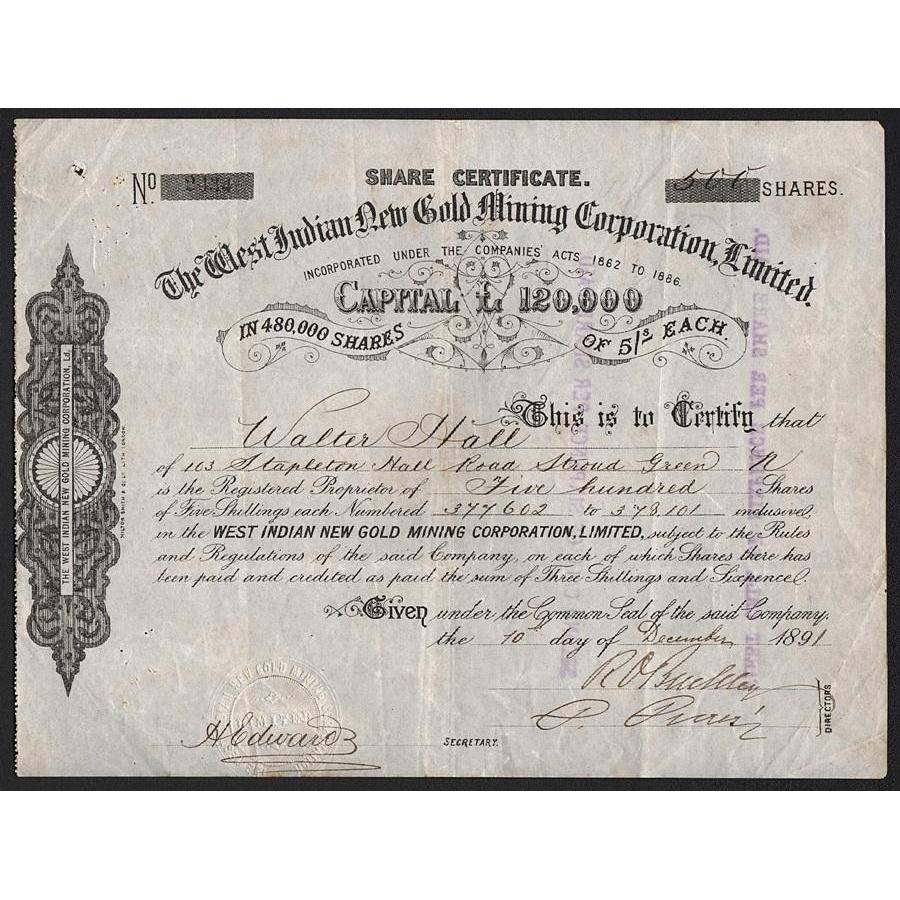 The West Indian New Gold Mining Corporation, Limited Stock Certificate