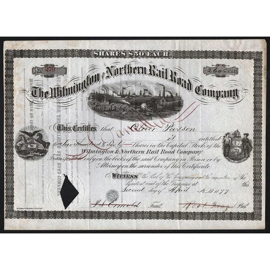 The Wilmington and Northern Rail Road Company Stock Certificate