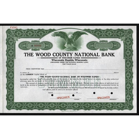 The Wood County National Bank of Wisconsin Rapids - Specimen Stock Certificate