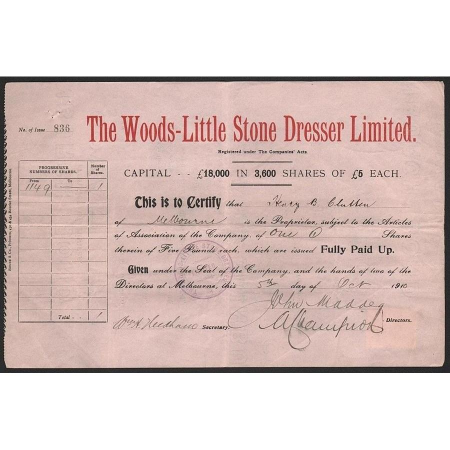 The Woods-Little Stone Dresser Limited Stock Certificate