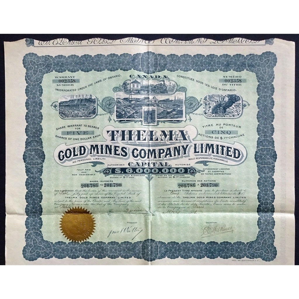 Thelma Gold Mines Company, Limited Stock Certificate
