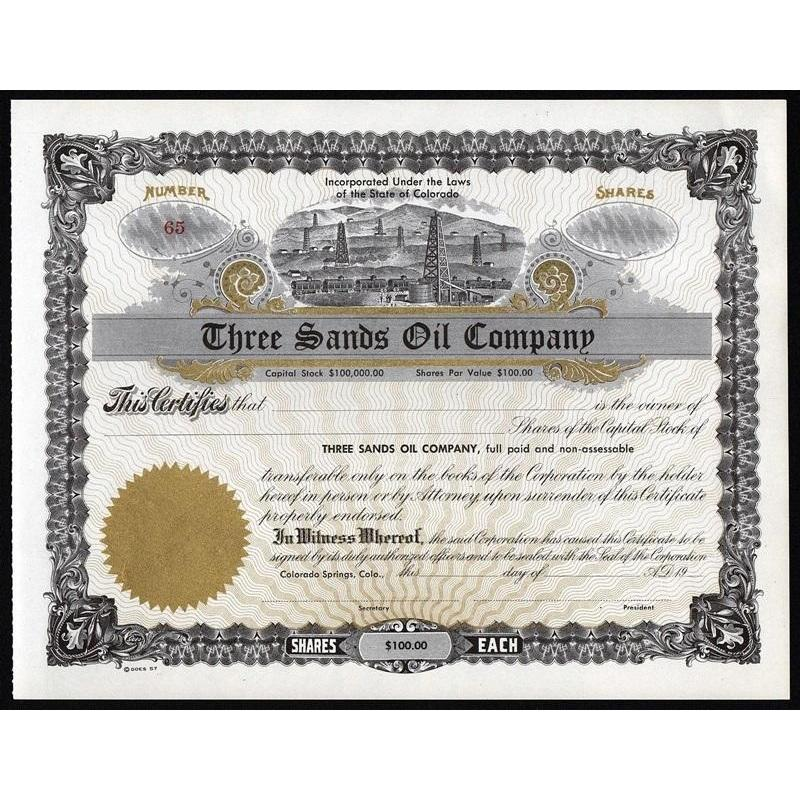 Three Sand Oil Company Stock Certificate