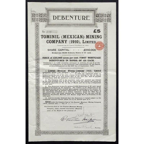 Tominil (Mexican) Mining Company (1910), Limited Stock Certificate