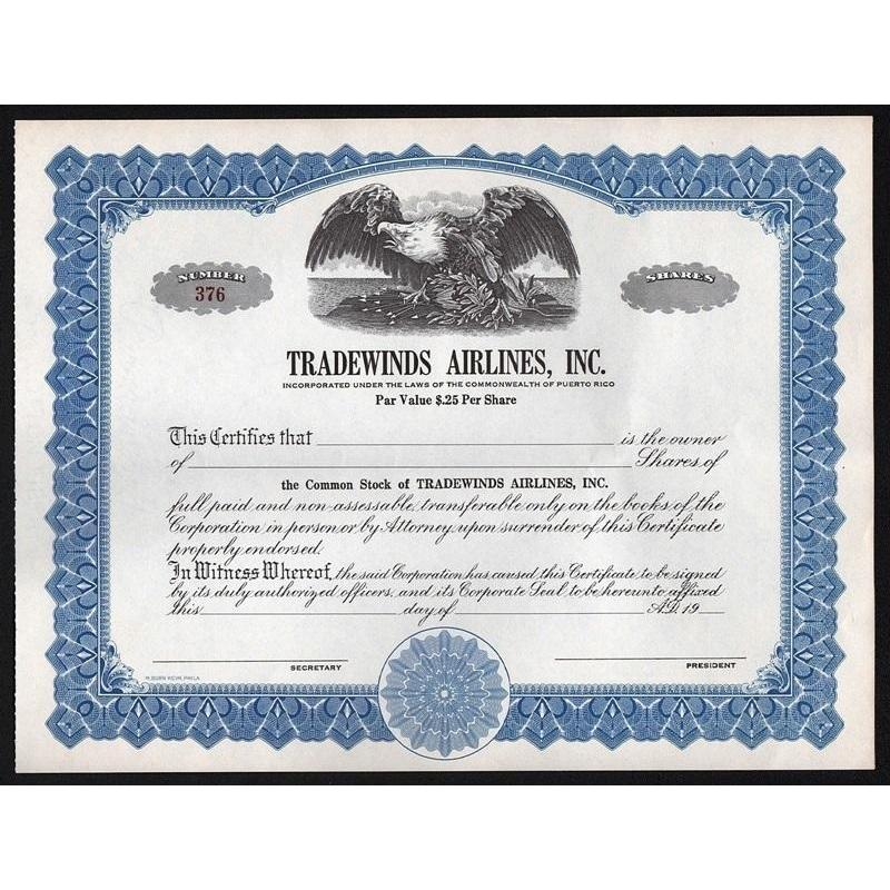 Tradewinds Airlines, Inc. (Puerto Rico) Stock Certificate