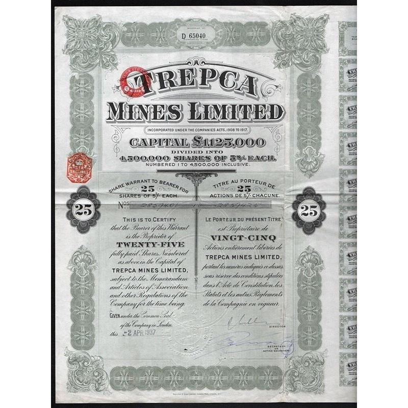 Trepca Mines Limited Stock Certificate