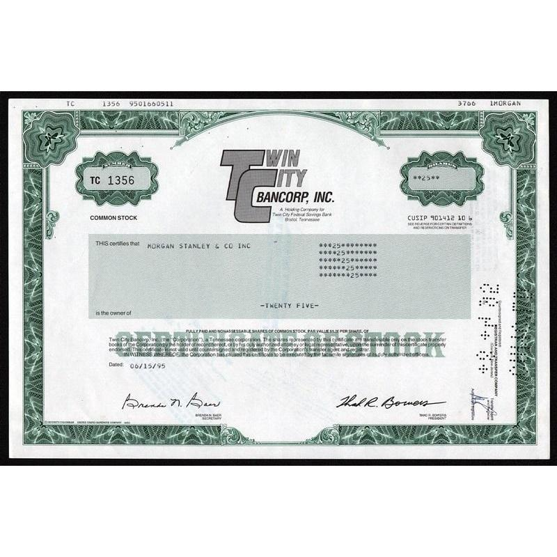 Twin City Bancorp, Inc. Stock Certificate